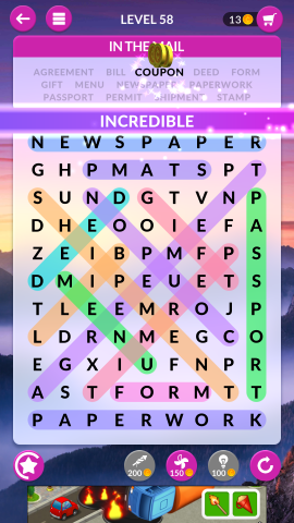 wordscapes search level 58